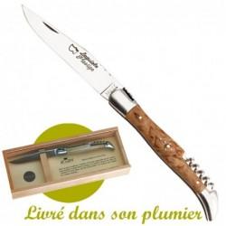 couteau de poche Laguiole avec  Tire-bouchon en Bouleau de Finlande - livré en coffret bois
